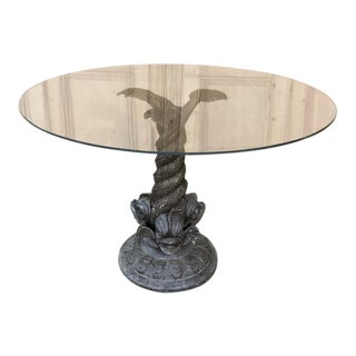 19th Century Bronze Dolphin Glass Top Coffee Table For Sale
