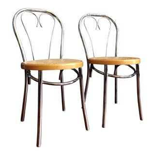 Darling Chrome and Cane Cafe Chairs- Pair For Sale