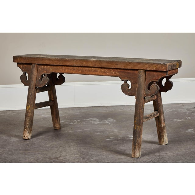 Brown 20th Century Chinese Wooden Bench For Sale - Image 8 of 8