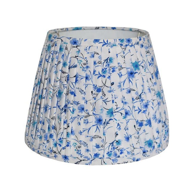 Contemporary Pleated Blue Floral Pleated Lampshade For Sale - Image 3 of 3