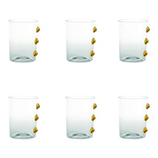 Petoni Tumbler in Transparent with Yellow Dots - Set of 6 For Sale