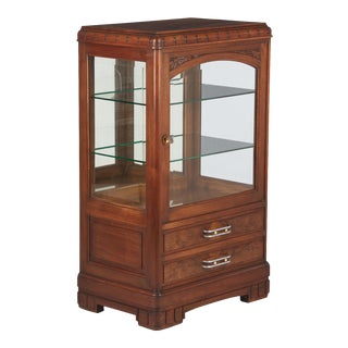 1930s French Art Deco Walnut Display Cabinet For Sale