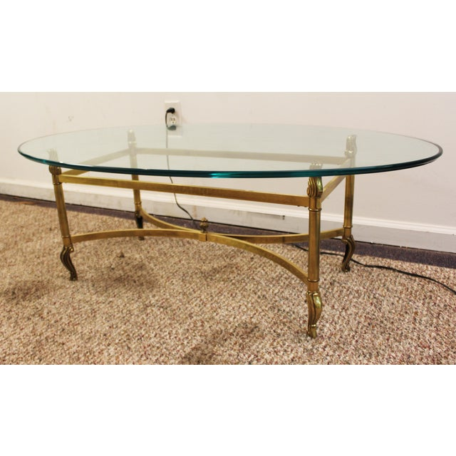 Regency Brass Base & Glass Top Coffee Table - Image 3 of 10