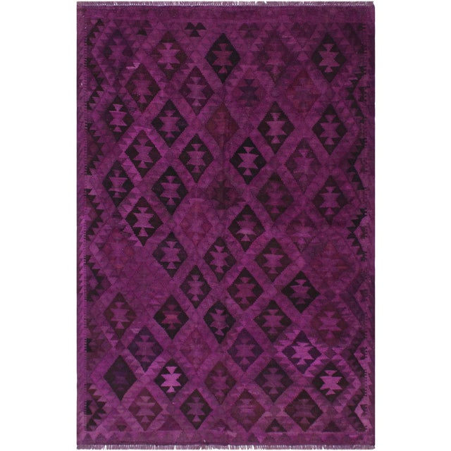 Boho Chic Carlos Hand-Woven Kilim Wool Rug - 5'7 X 7'7 For Sale