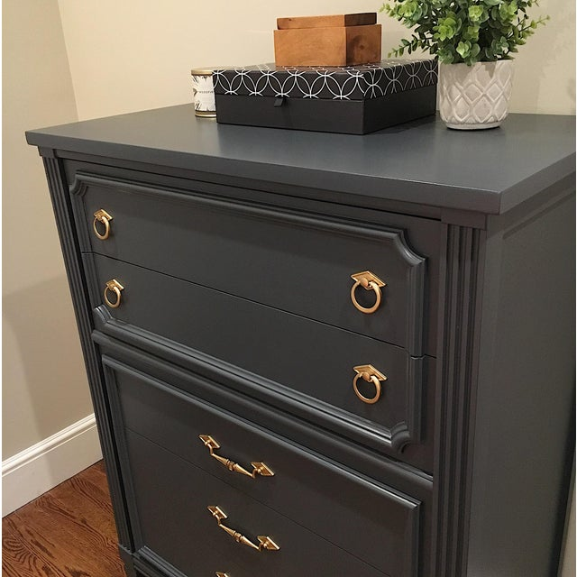 Bassett 1970s Hollywood Regency Bassett Gray Tall Dresser and Nightstand Set - 2 Pieces For Sale - Image 4 of 12