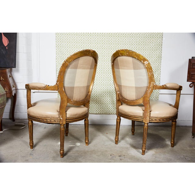 Pair of French Louis XVI Style Gilded Fauteuils For Sale In Atlanta - Image 6 of 9