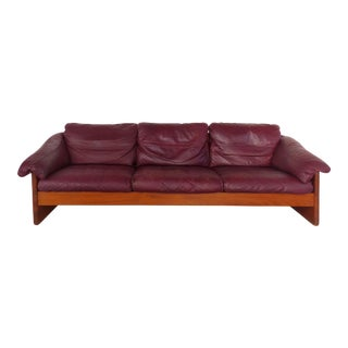 Danish Modern Teak and Leather Sofa Attributed to France & Son For Sale