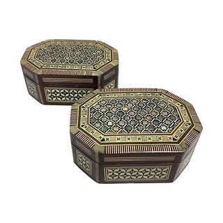 Inlaid Mother of Pearl Wood Boxes - A Pair For Sale