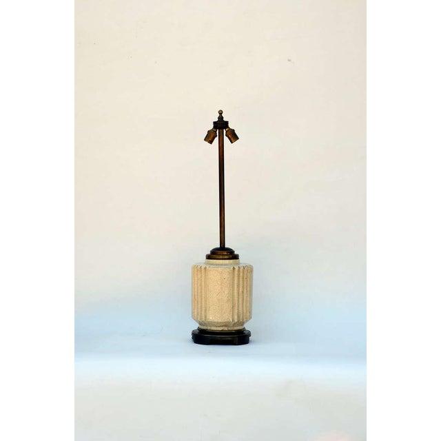 Bronze 1930s Art Deco Robert T. Lallemant Crackled Cream Ceramic Lamp For Sale - Image 7 of 7