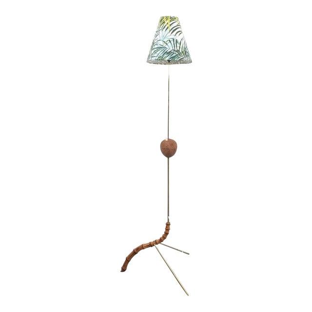 Coconut Brass Bamboo Floor Lamp Attr. Kalmar, Austria 1950 For Sale