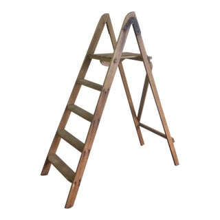 Rustic Antique Pine Mercantile Display Ladder For Sale