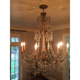 Antique Genovese Giltwood Iron, Wood and Crystal Chandelier Preview