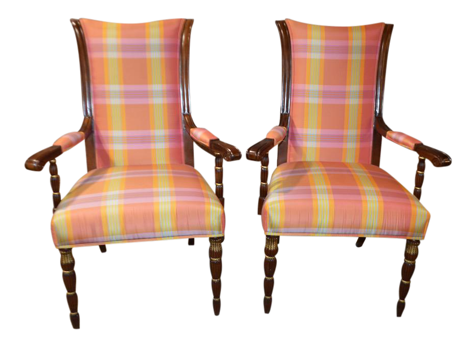 hurtado plaid accent arm chairs a pair chairish rh chairish com Elegant Accent Chairs Accent Chairs for Living Room