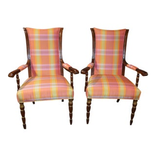 Hurtado Plaid Accent Arm Chairs - A Pair For Sale