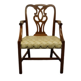 Traditional Chippendale Baker Furniture Solid Mahogany Dining Arm Chair For Sale