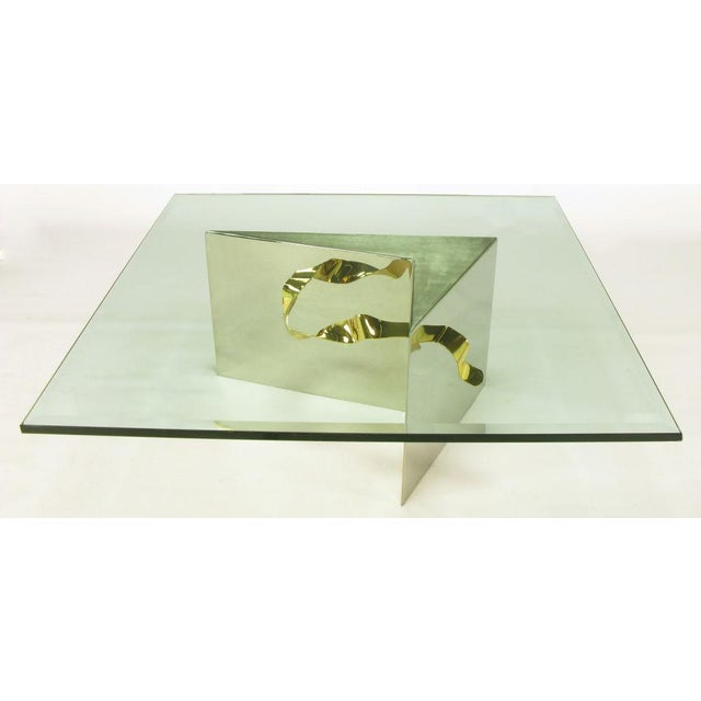 Custom Artisan Chrome, Brass, And Glass Coffee Table - Image 5 of 10