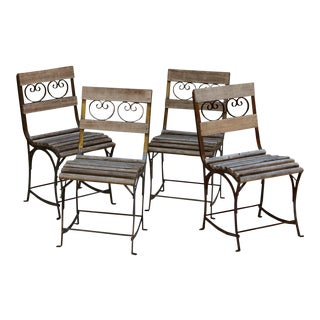 French Wrought Iron Garden or Bistro Chairs - Set of 4 For Sale