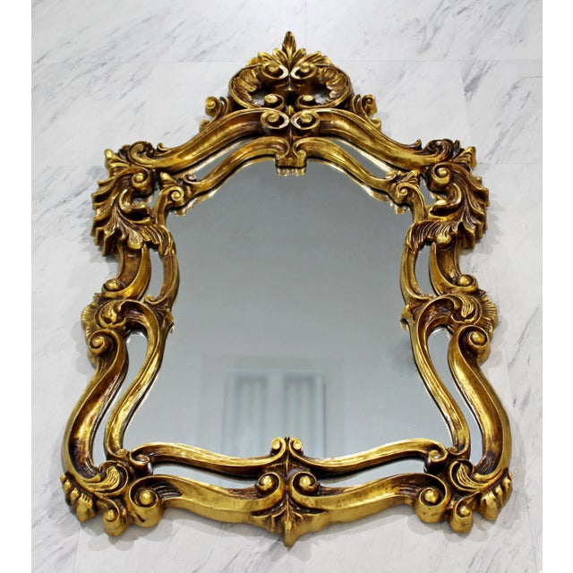 Hollywood Regency Rococo Hollywood Regency Style Gold Gilt Leaf Hanging Wall Mirrors - a Pair For Sale - Image 3 of 6
