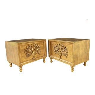 Mid-Century Hollywood Regency Gilt Gold Bedside Tables - a Pair For Sale