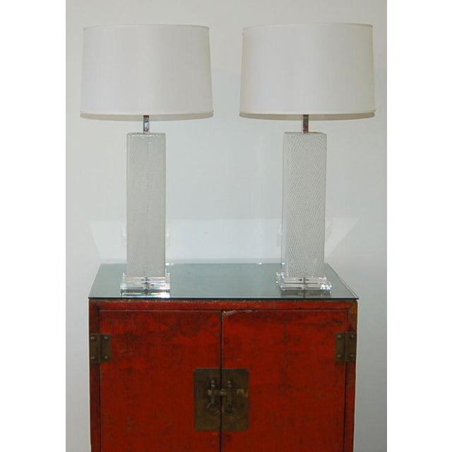 1960s Dino Martens Vintage Murano Glass Table Lamps Square White For Sale - Image 5 of 10