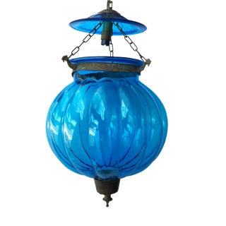 """Anglo Indian Style Glass Lantern Ceiling Lamp 16"""" H For Sale"""