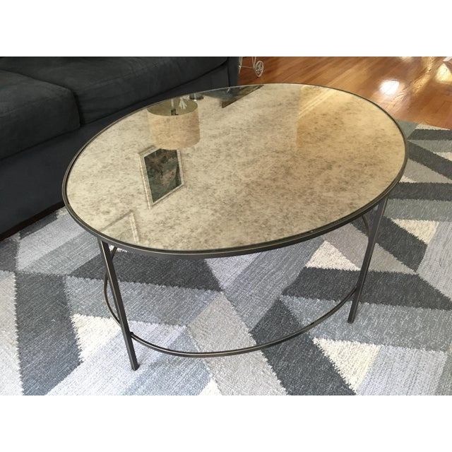 West Elm Foxed Mirror Oval Coffee Table - Image 2 of 4