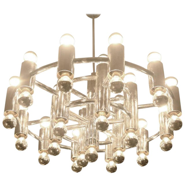 Extra Large Chrome-Plated Chandelier with 37-Light Fixtures For Sale