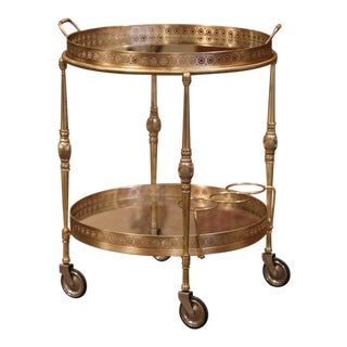 Early 20th Century French Two-Tier Brass Desert Table or Tea Cart on Wheels For Sale