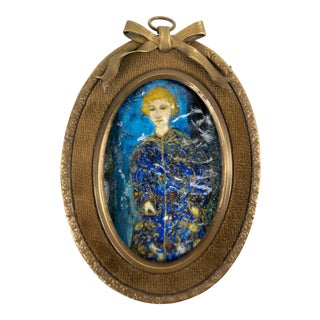 Early 20th Century Viennese Enamel Portrait Painting, Framed For Sale