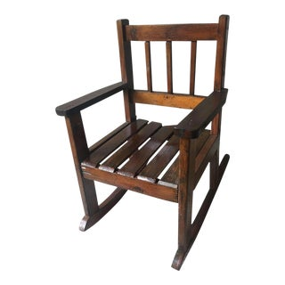 Early 20th Century Vintage Mission Arts and Crafts Style Child's Rocking Chair For Sale