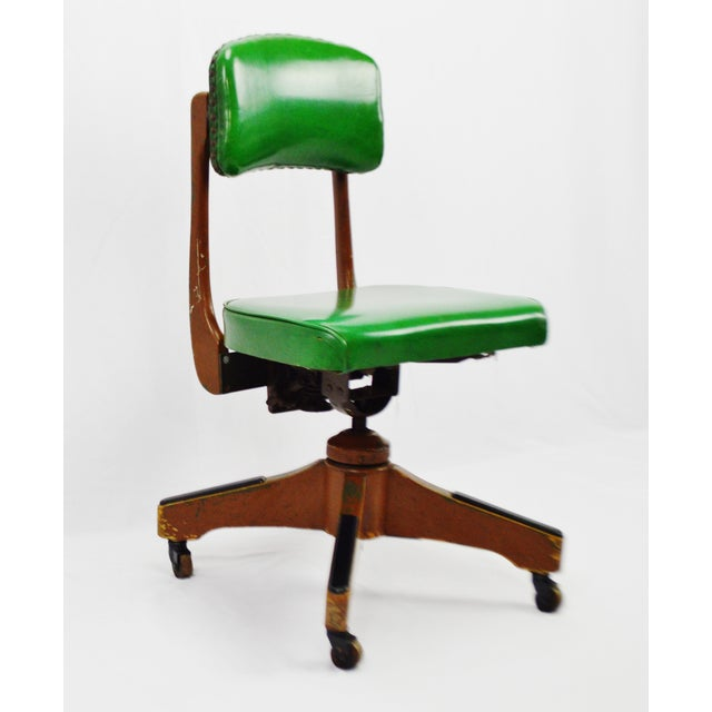 Mid-century Taylor Chair Company adjustable desk chair. Condition consistent with age and history. Chair frame has been...