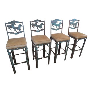 Unique Western or Horse Theme Bar Stools - Set of 4