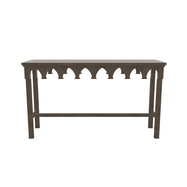 Metal Oomph Ocean Drive Outdoor Console Table, Dark Gray For Sale - Image 7 of 8