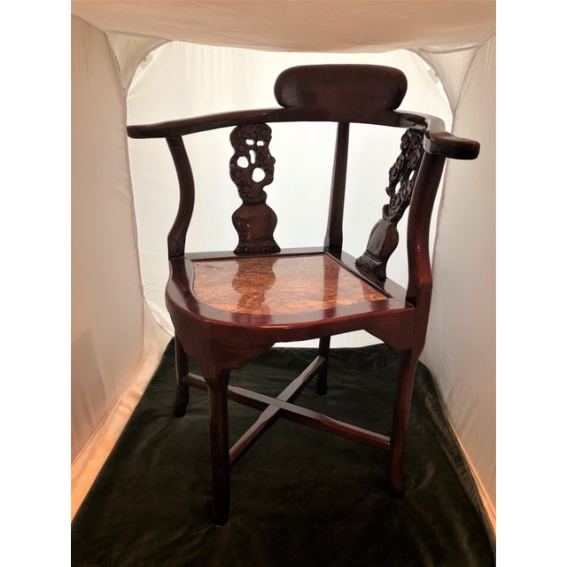 Antique Rosewood Hand Carved Cherry Blossom Inlay Corner Chair Granite Seat For Sale - Image 4 of 10