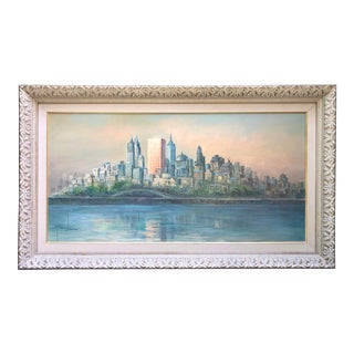 Mid Century Cityscape Painting Nyc Oversized Art For Sale