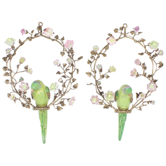 French Opposing Wall-Mounted Porcelain Parrots - a Pair For Sale - Image 10 of 10