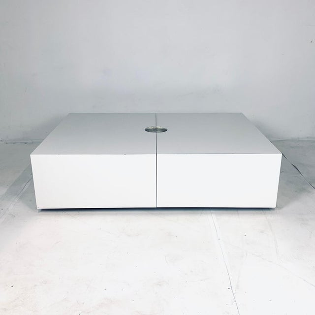 Metal Op-Art Pop White & Stainless Convertible Storage Bar / Coffee Table For Sale - Image 7 of 11