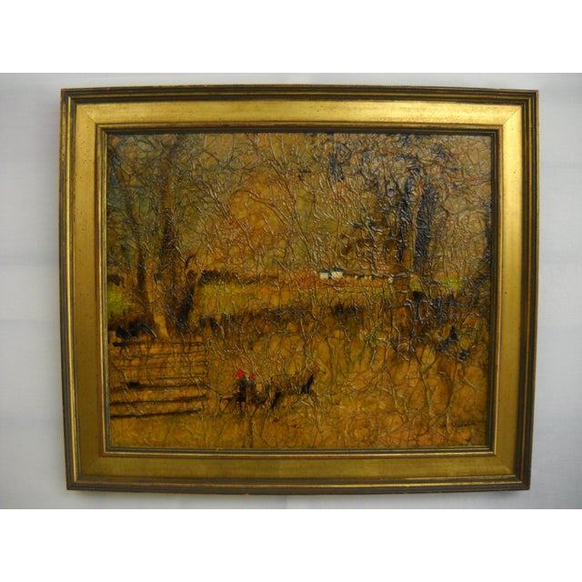 """1970's mixed-media crinkle-textured composition of a Trotter on a country lane, signed in lower right-hand corner, """"Don..."""
