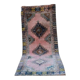 Vintage Tribal Muted Colors Oushak Hallway Runner Rug, Contemporary Wide Oushak Runner With Modern Style Abrash, 4'5'' X 10'10'' / 135x330cm For Sale