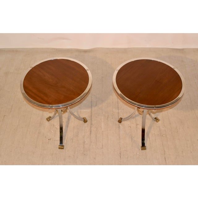 Metal Mid-Century Mahogany and Chrome Side Tables - a Pair For Sale - Image 7 of 12