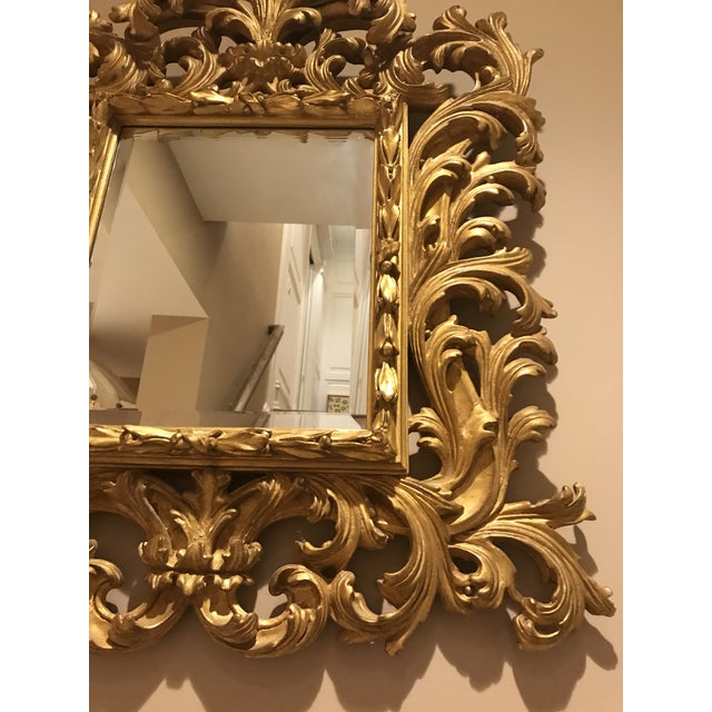 Gold Antiqued Art Deco Gold Brocade Wall Mirror For Sale - Image 8 of 11