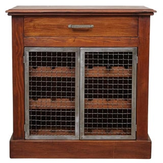 Wine Cabinet with Metal Doors For Sale