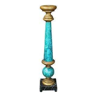 Large Faux Malachite Painted Pedestal