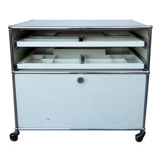 Haller White Rolling Cabinet For Sale