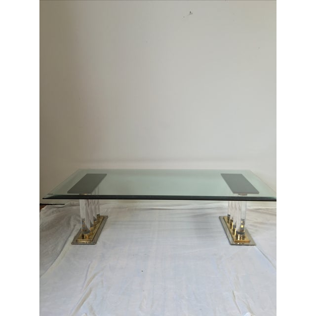 Romeo Rega-Style Lucite & Brass Coffee Table - Image 3 of 7