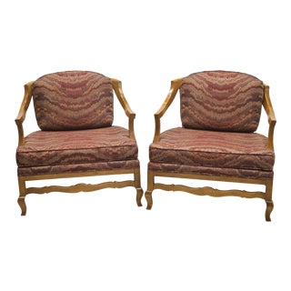 Vintage Burgundy Flame Wood Low Profile Chairs with Cane Back - a Pair For Sale