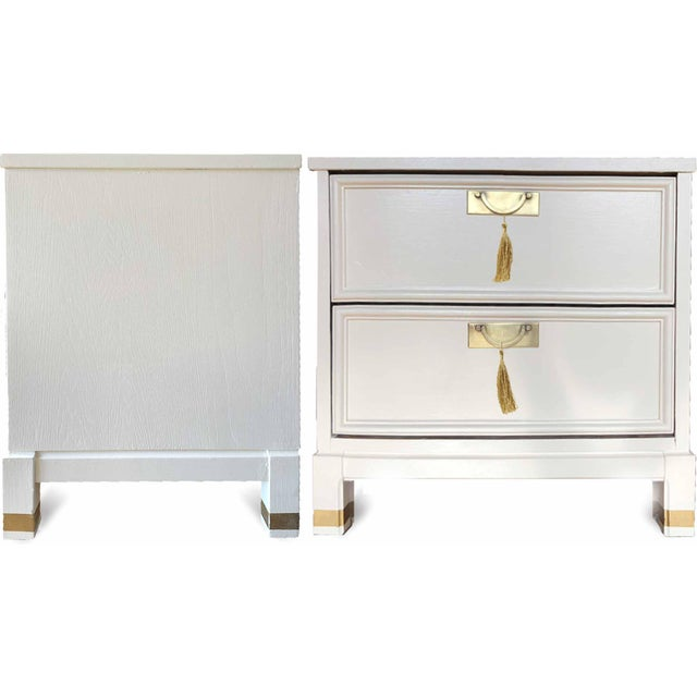 1960s Hollywood Regency White 2-Drawer Nightstands - a Pair For Sale - Image 4 of 9