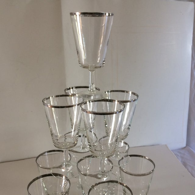 French Platinum Rim Crystal Cocktail /Water Glasses - Set of 12 For Sale - Image 9 of 11