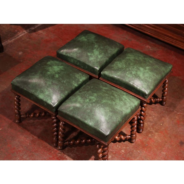 Set of Four 19th Century French Louis XIII Carved Barley Twist Leather Stools For Sale - Image 4 of 8