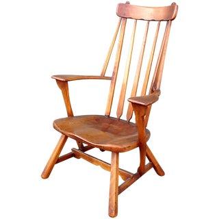 1930s Americana Sykes Maple High Back Armchair For Sale